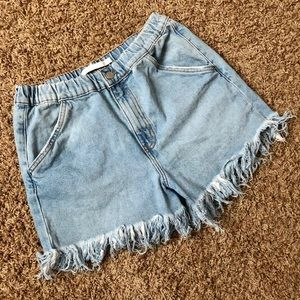 ZARA mom fringe jean shorts